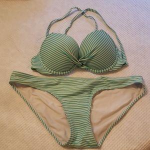 Aerie Green and white stripped Bikini